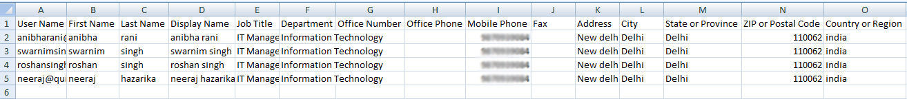 Add Multiple user account in o365